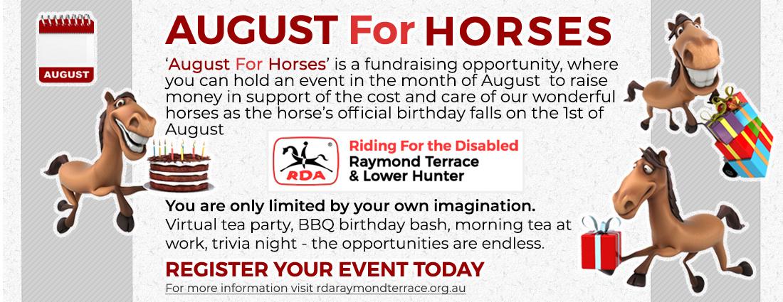 August For Horses | Fundraising Opportunity to raise money in honour of RDA Raymond Terrace